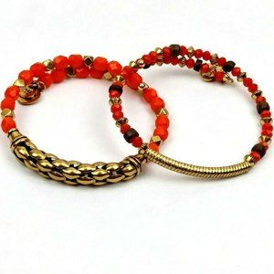 Alex & Ani Vintage Sixty Six Orange Beaded Bangles